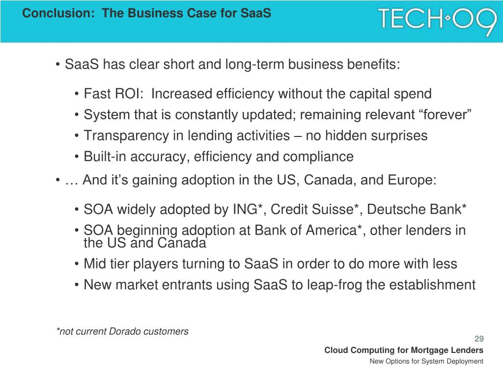 Conclusion:  The Business Case for SaaS