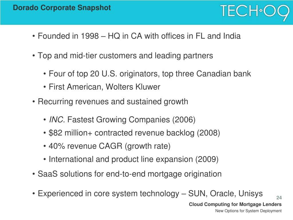 Dorado Corporate Snapshot