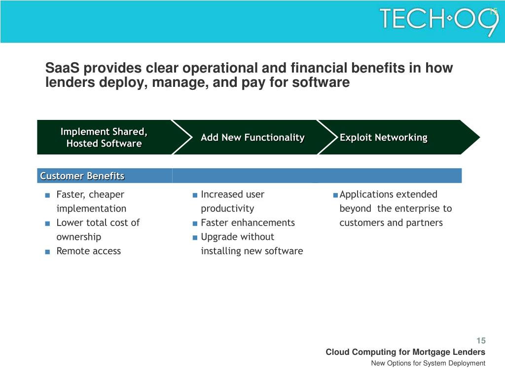 SaaS provides clear operational and financial benefits in how lenders deploy, manage, and pay for software