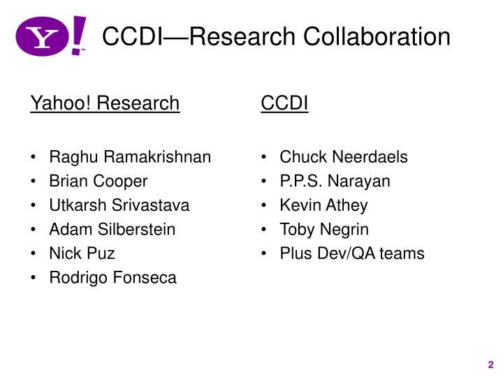 Ccdi research collaboration