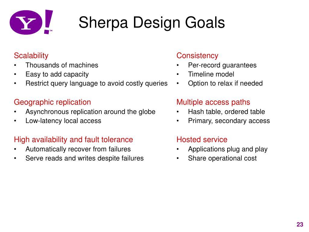 Sherpa Design Goals