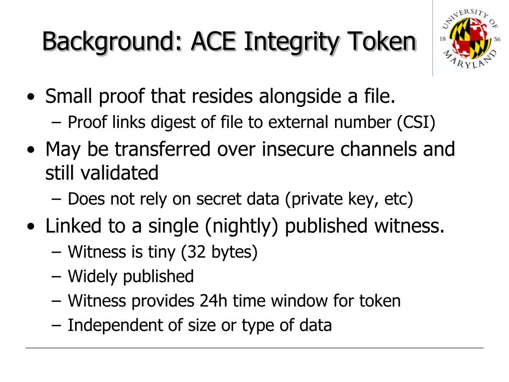 Background: ACE Integrity Token