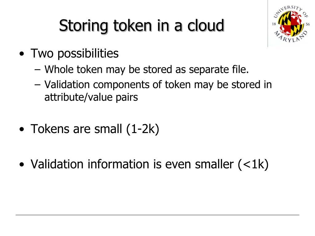 Storing token in a cloud