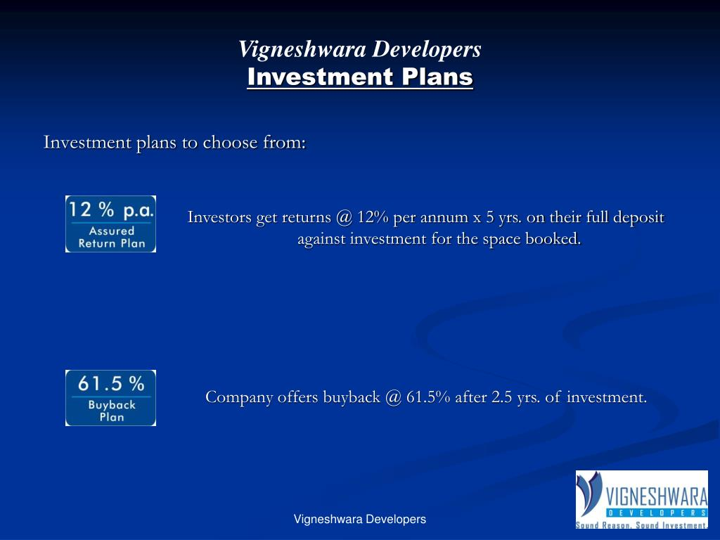 Investors get returns @ 12% per annum x 5 yrs. on their full deposit against investment for the space booked.