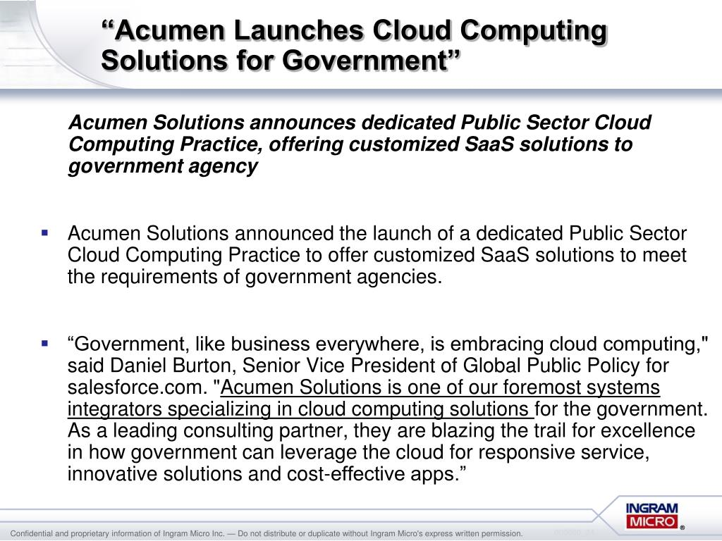 """""""Acumen Launches Cloud Computing Solutions for Government"""""""