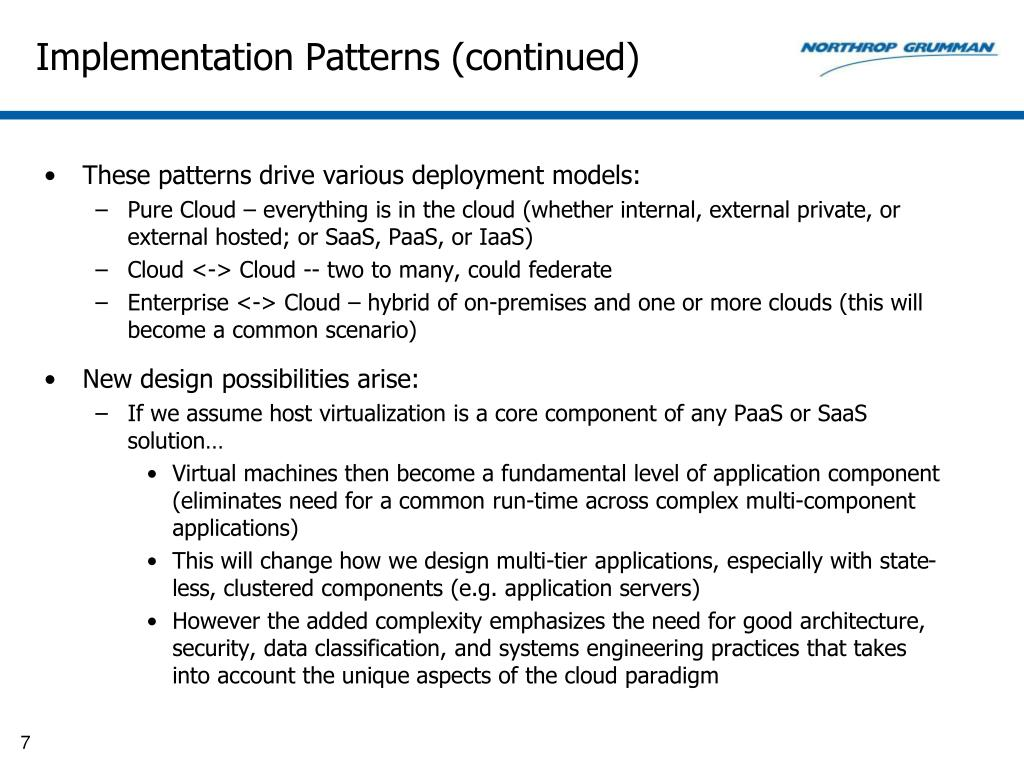 Implementation Patterns (continued)