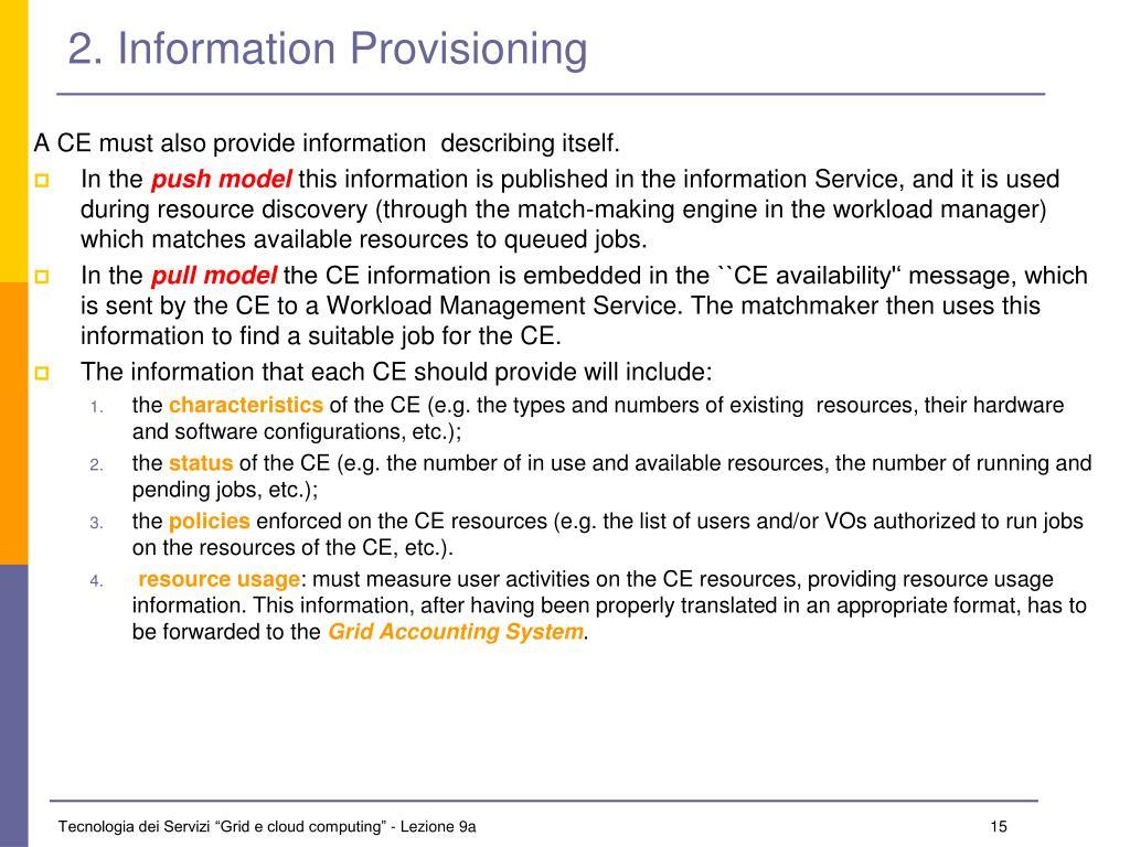2. Information Provisioning