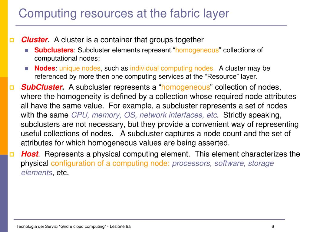 Computing resources at the fabric layer