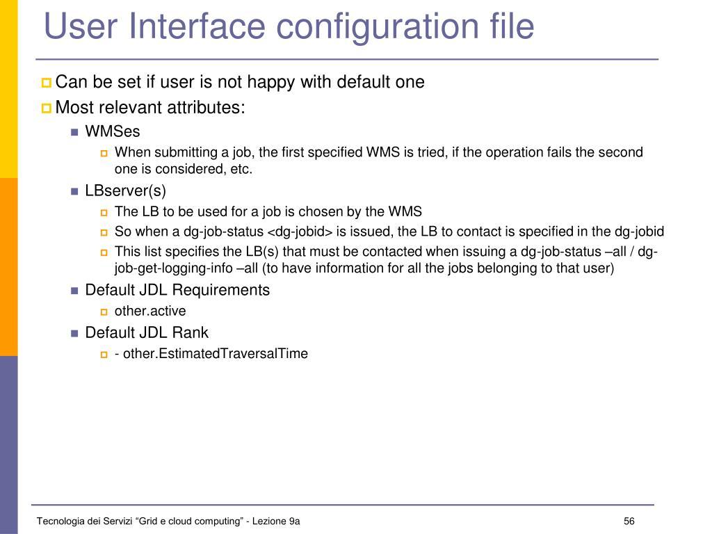User Interface configuration file