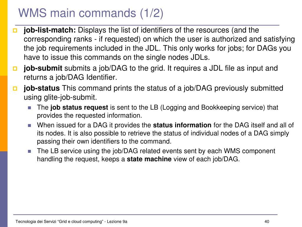 WMS main commands (1/2)
