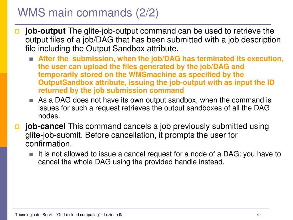 WMS main commands (2/2)