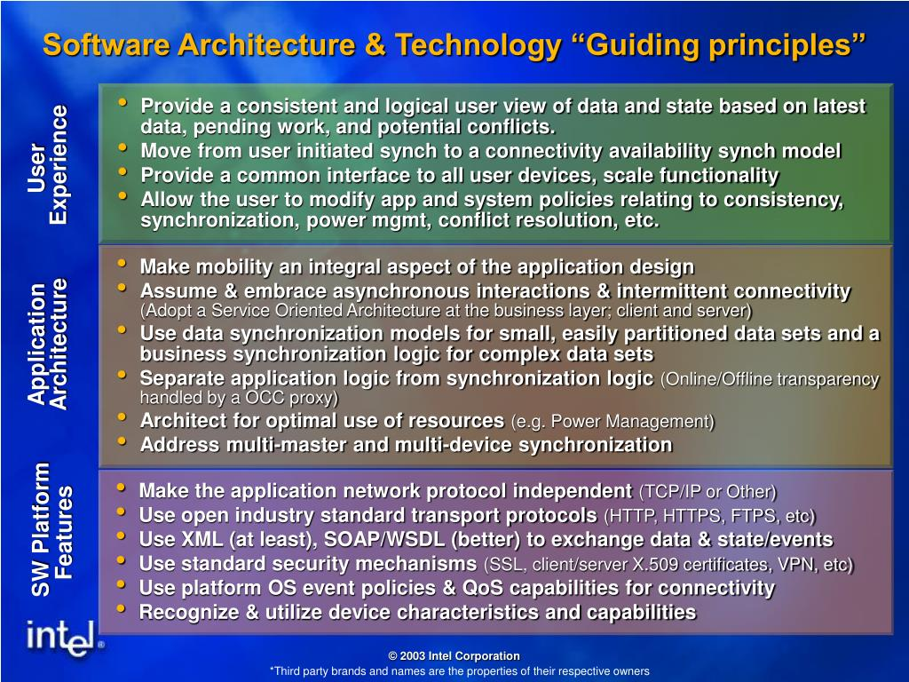"""Software Architecture & Technology """"Guiding principles"""""""