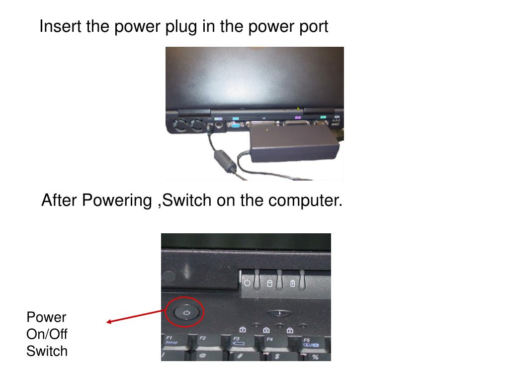 Insert the power plug in the power port