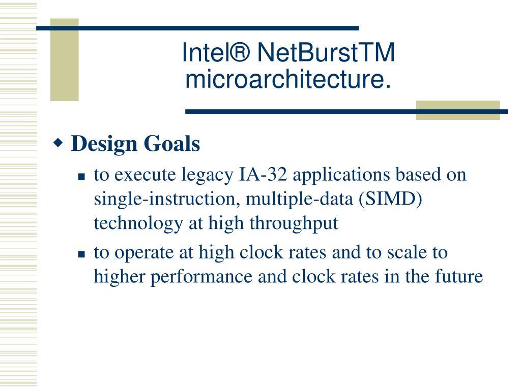 Intel® NetBurstTM microarchitecture.