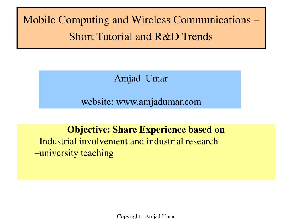 mobile computing and wireless communications short tutorial and r d trends l.