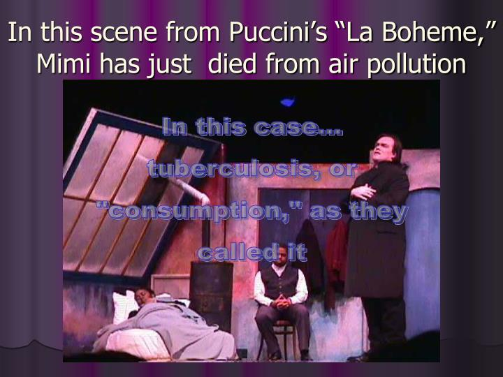 "In this scene from Puccini's ""La Boheme,"" Mimi has just  died from air pollution"