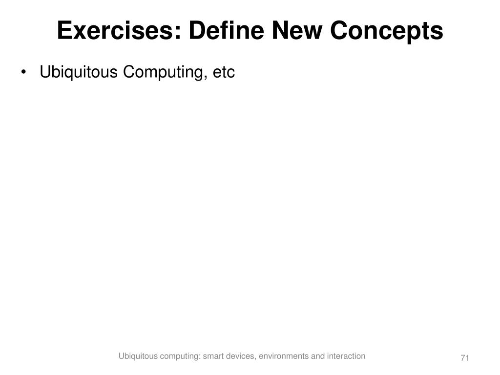 Exercises: Define New Concepts