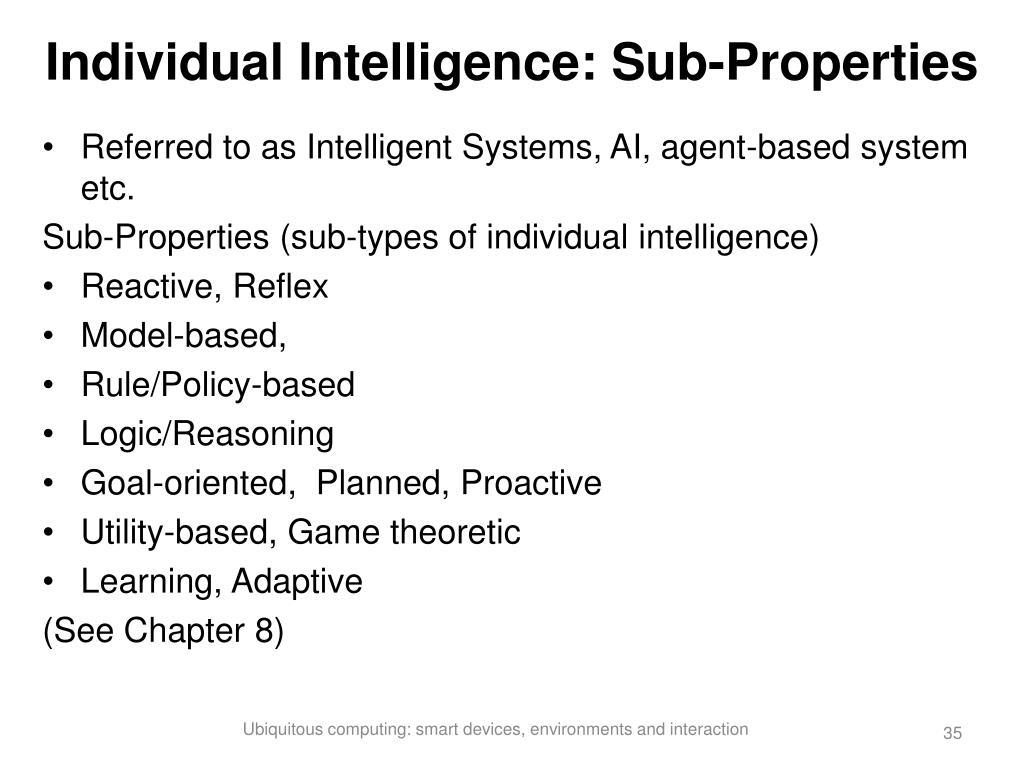 Individual Intelligence: Sub-Properties