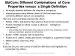 ubicom different combinations of core properties versus a single definition22
