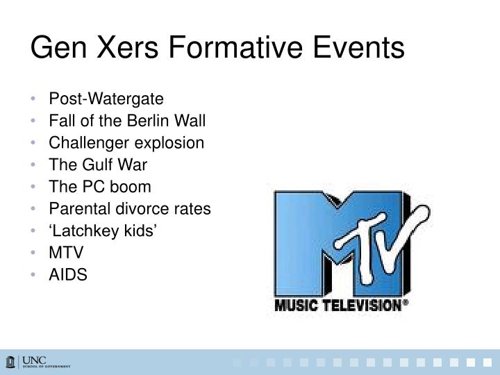 Gen Xers Formative Events