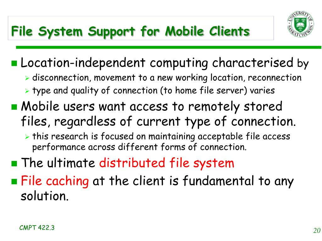 File System Support for Mobile Clients