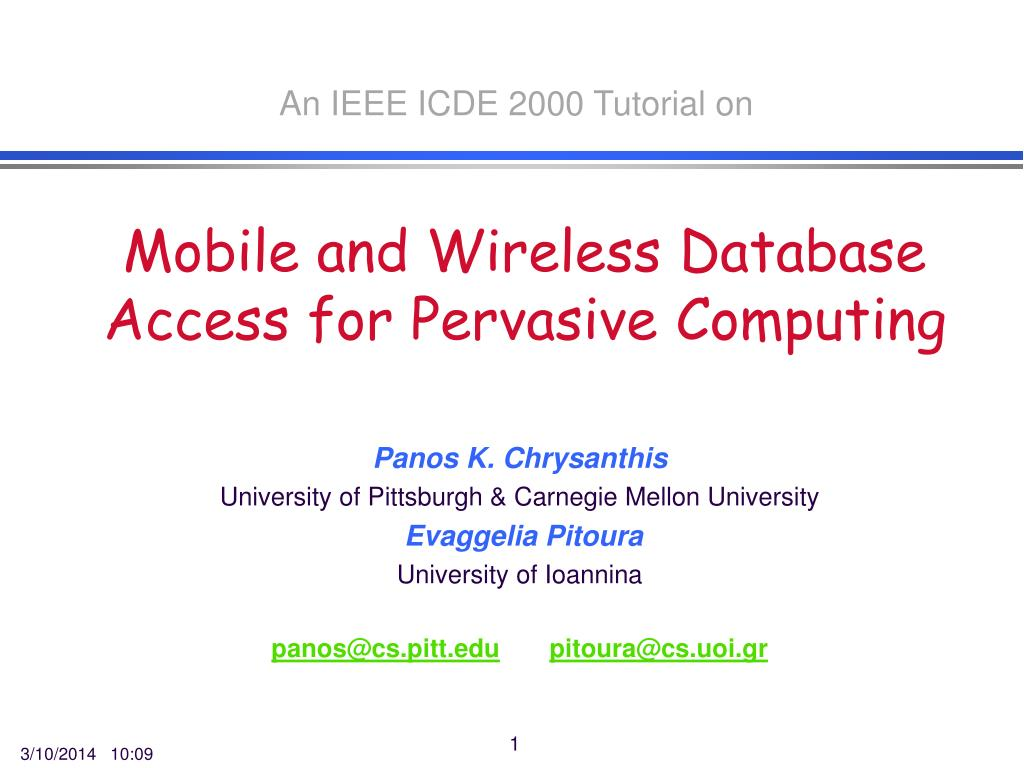 mobile and wireless database access for pervasive computing l.