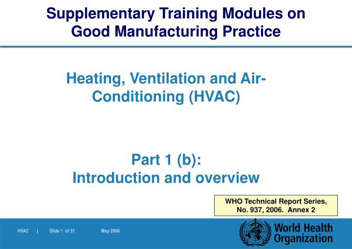 Supplementary Training Modules on
