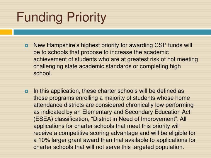 Funding Priority
