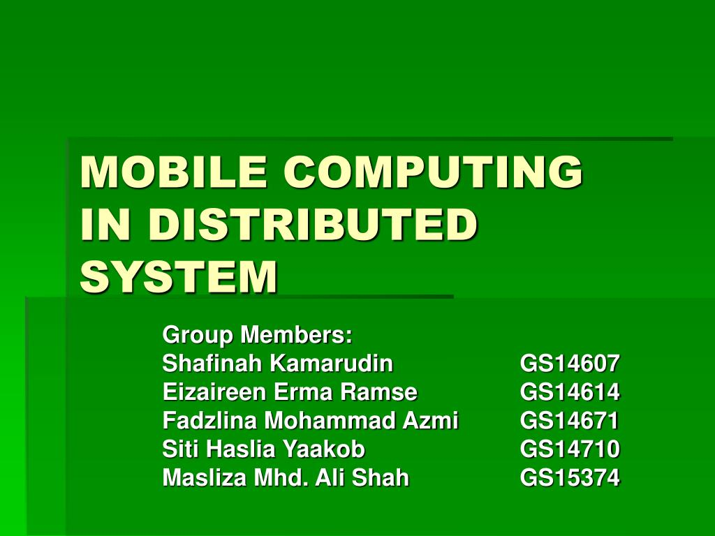 mobile computing in distributed system l.