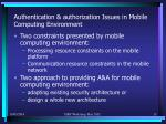 authentication authorization issues in mobile computing environment