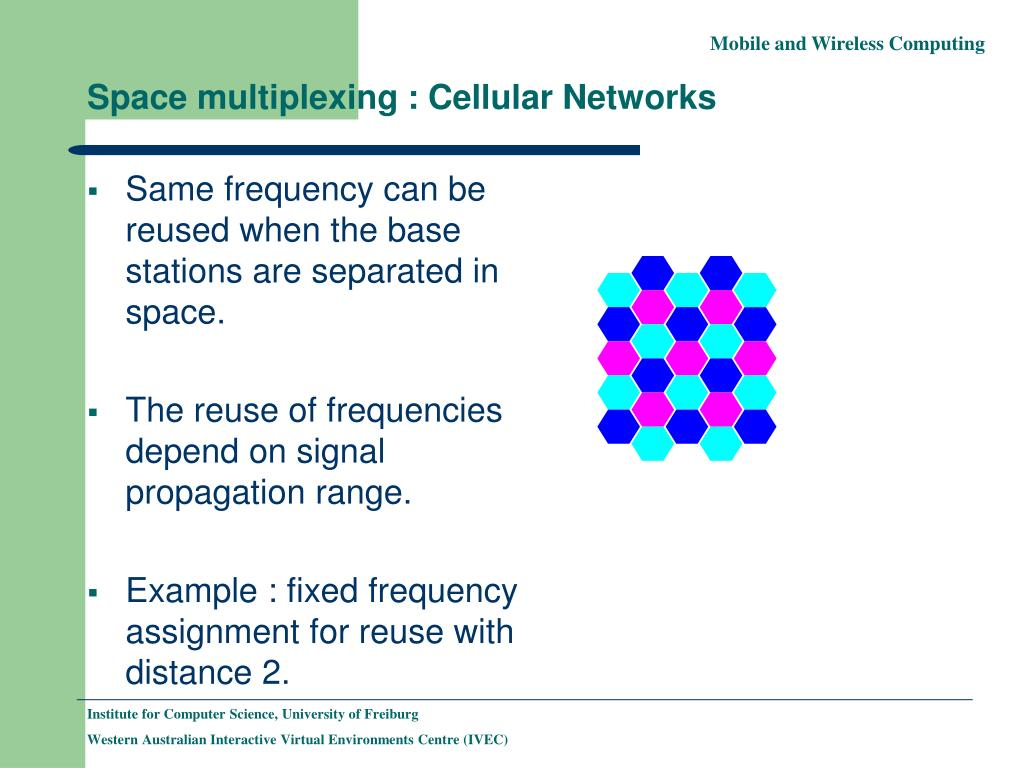 Same frequency can be reused when the base stations are separated in space.