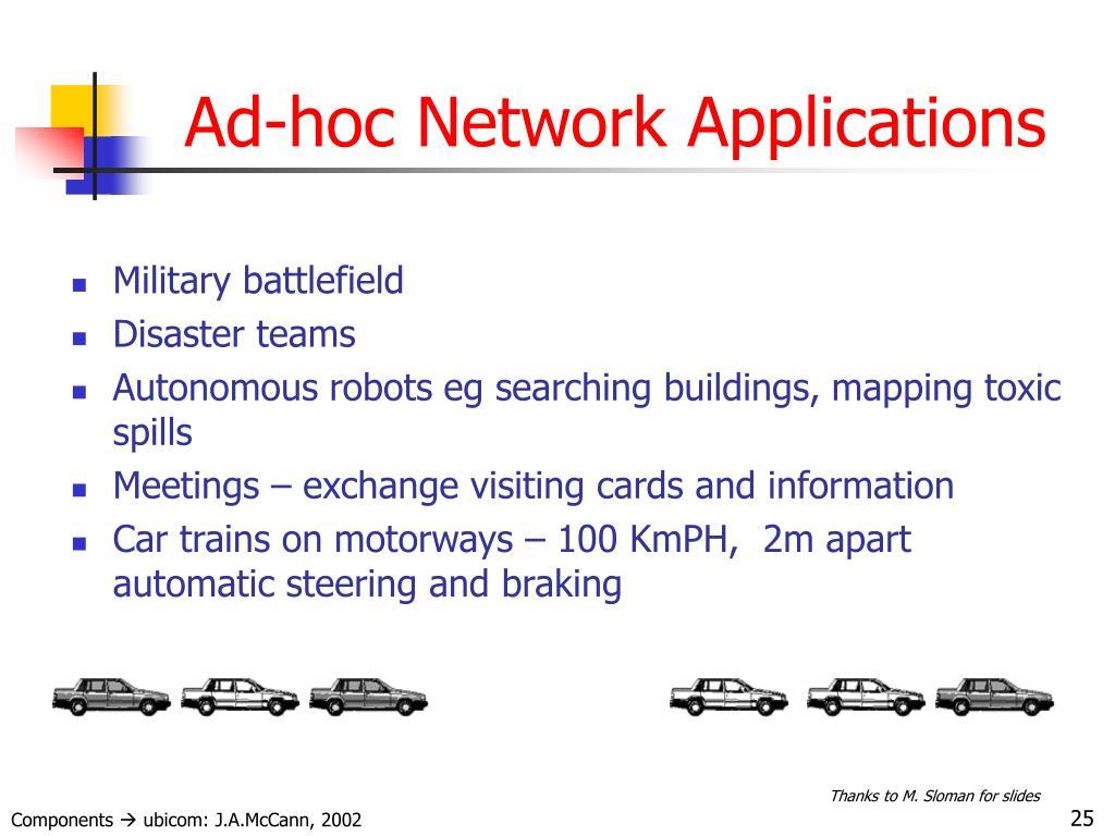 Ad-hoc Network Applications