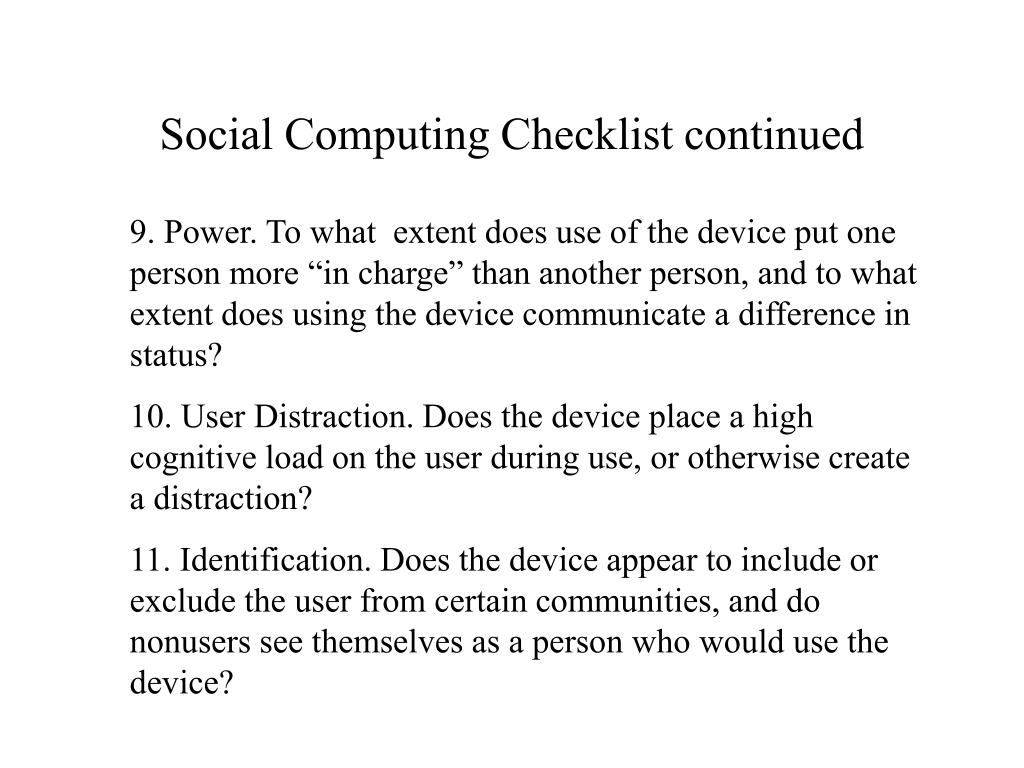 Social Computing Checklist continued