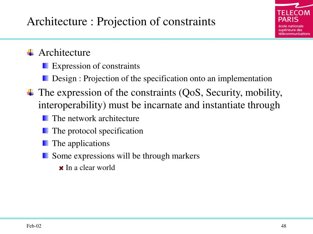 Architecture : Projection of constraints