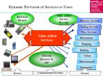dynamic provision of services to users