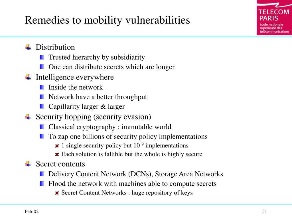 Remedies to mobility vulnerabilities