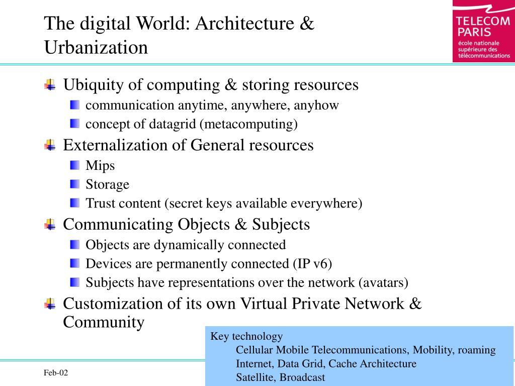 The digital World: Architecture & Urbanization