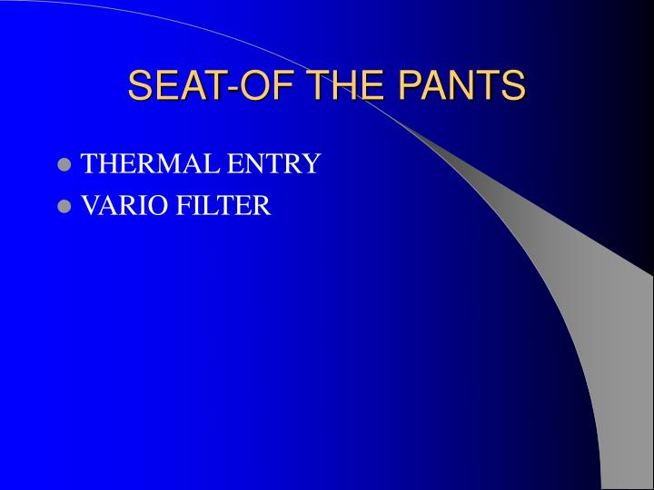 SEAT-OF THE PANTS