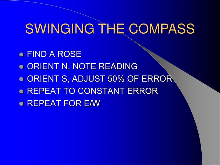 SWINGING THE COMPASS