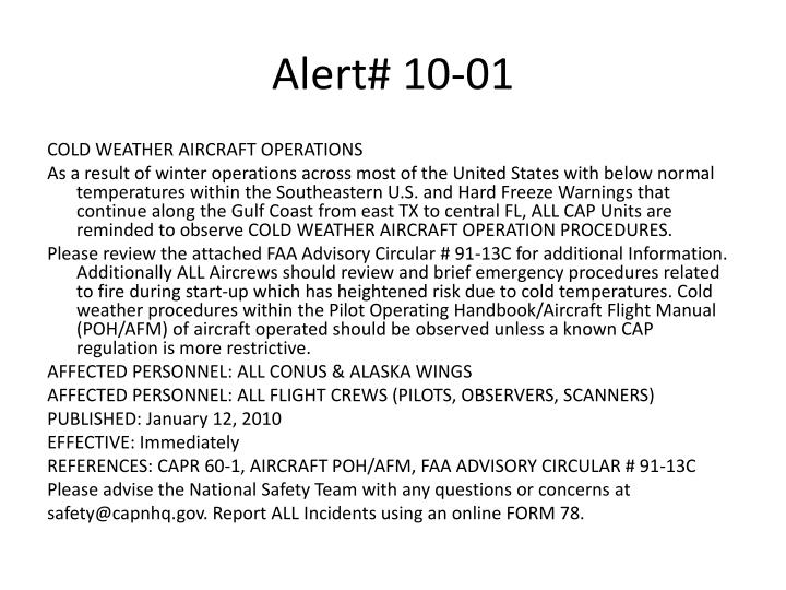 Alert# 10-01