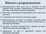 bilancio e programmazione