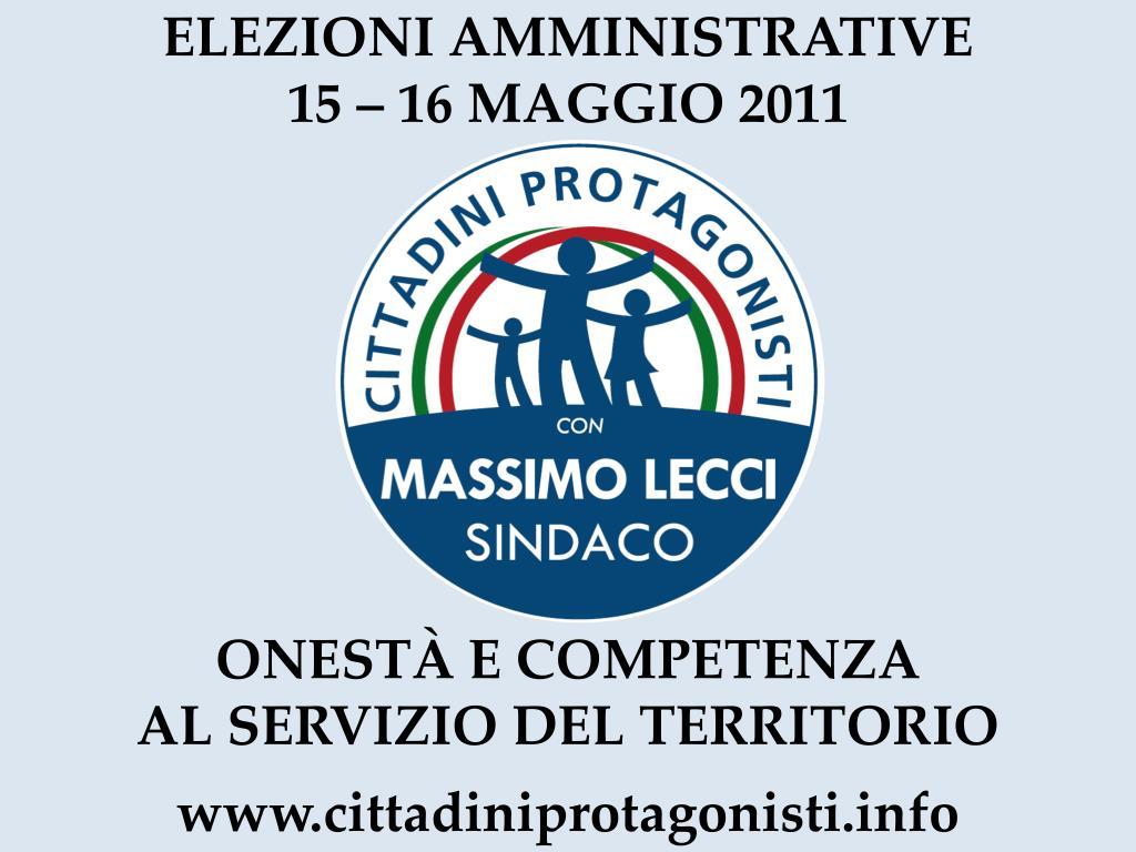 elezioni amministrative 15 16 maggio 2011 l.