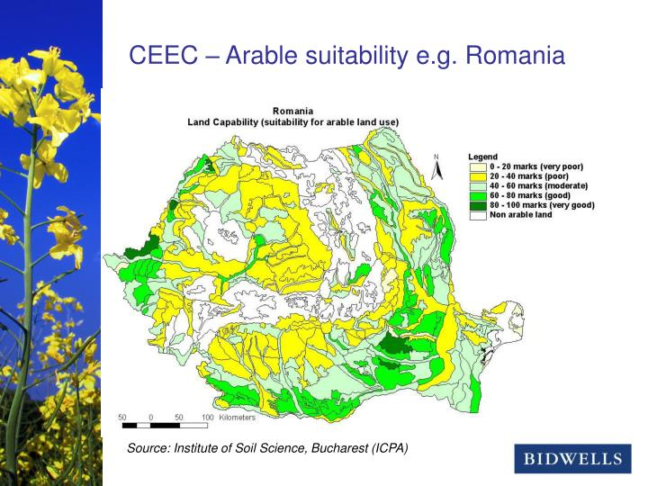 CEEC – Arable suitability e.g. Romania