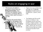 rules on engaging in war