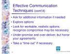 effective communication techniques cont d