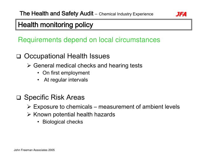 Health monitoring policy