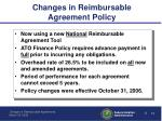 changes in reimbursable agreement policy1