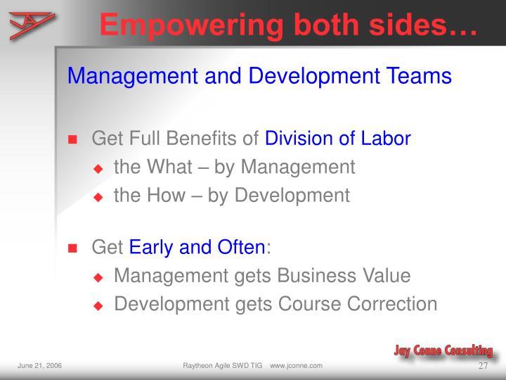 Empowering both sides…