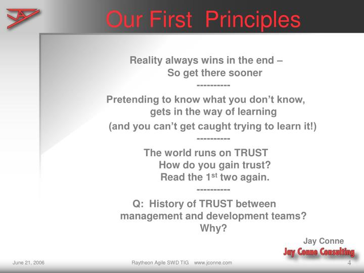 Our First  Principles