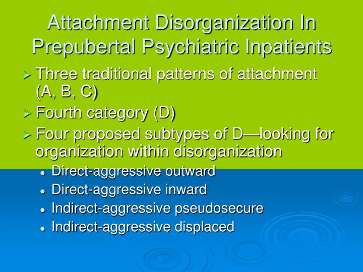 Attachment Disorganization In Prepubertal Psychiatric Inpatients